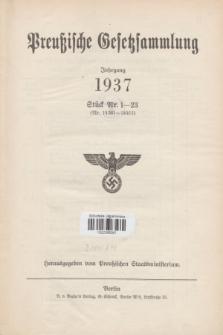 Preußische Gesetzsammlung. 1937, Spis treści