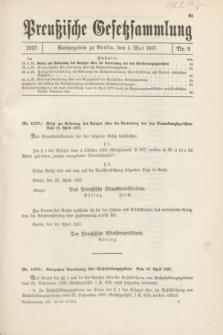 Preußische Gesetzsammlung. 1937, Nr. 9 (5 Mai)