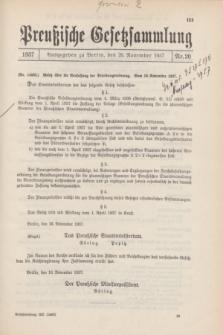 Preußische Gesetzsammlung. 1937, Nr. 20 (26 November)