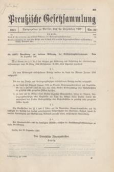 Preußische Gesetzsammlung. 1937, Nr. 22 (27 Dezember)