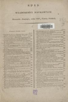 Gazeta Polska. 1827, Spis Wiadomości Naukowych Kwartału drugiego, roku 1827, Gazety Polskiéj