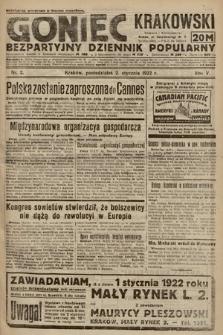 Goniec Krakowski : bezpartyjny dziennik popularny. 1922, nr2