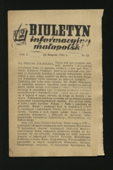 Biuletyn Informacyjny Małopolski. 1942, nr 23 (13 sierpnia)