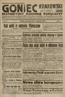 Goniec Krakowski : bezpartyjny dziennik popularny. 1922, nr9