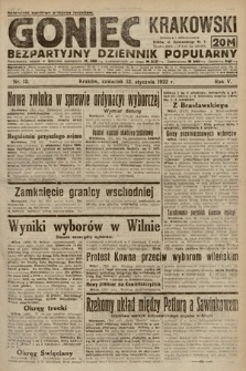 Goniec Krakowski : bezpartyjny dziennik popularny. 1922, nr12