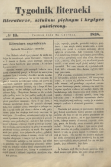 Tygodnik Literacki : literaturze, sztukom pięknym i krytyce poświęcony. [T.1], № 13 (25 czerwca 1838)