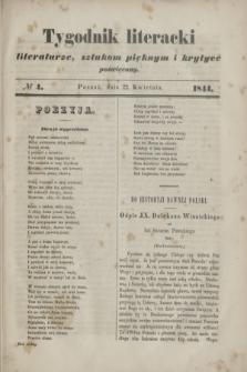 Tygodnik literacki : literaturze, sztukom pięknym i krytyce poświęcony. [R.7], № 4 (22 kwietnia 1844)