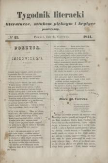 Tygodnik literacki : literaturze, sztukom pięknym i krytyce poświęcony. [R.7], № 13 (24 czerwca 1844)
