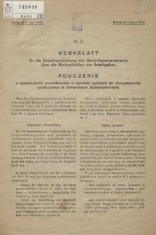 Merkblatt für die Sozialversicherung des Generalgouvernements über die Meldepflichten der Arbeitgeber