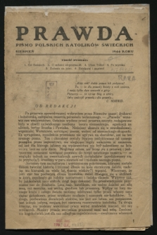 Prawda : pismo Polskich Katolików Świeckich. 1944 (sierpień)