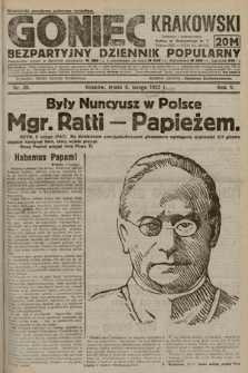 Goniec Krakowski : bezpartyjny dziennik popularny. 1922, nr39