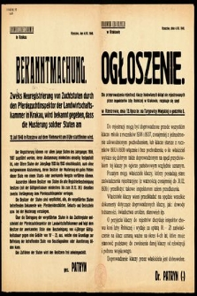 Bekanntmachung : Zweks Neustrierung von Zuchtstuten durch den Pferdezuchtinspektor der Landwirtschaftskammer in Krakau, wird bekannt gegeben, dass die Musterung solcher Stuten am 12. Julii 1940 im Rzeszow