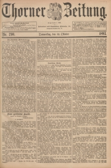Thorner Zeitung : Begründet 1760. 1893, Nr. 240 (12 Oktober)