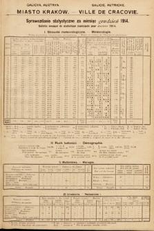 Miasto Kraków : sprawozdanie statystyczne za miesiąc grudzień 1914 = Ville de Cracovie : bulletin mensuel de statistique municipale pour décembre 1914