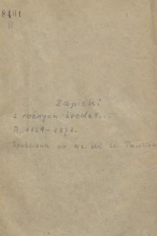 Fragmenty notesów Stefana Pawlickiego, z różnymi zapiskami z lat 1861, 1864-1865, 1868 i 1873