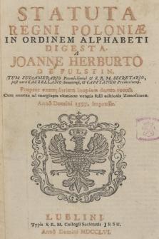 Statuta Regni Poloniæ In Ordinem Alphabeti Digesta