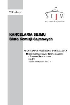 Pełny Zapis Przebiegu Posiedzenia Komisji Samorządu Terytorialnego i Polityki Regionalnej (nr91) z dnia 25 stycznia 2017 r.