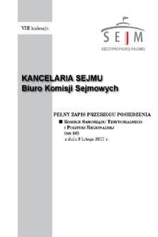 Pełny Zapis Przebiegu Posiedzenia Komisji Samorządu Terytorialnego i Polityki Regionalnej (nr96) z dnia 9 lutego 2017 r.