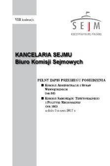 Pełny Zapis Przebiegu Posiedzenia Komisji Samorządu Terytorialnego i Polityki Regionalnej (nr103) z dnia 8 marca 2017 r.
