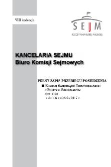 Pełny Zapis Przebiegu Posiedzenia Komisji Samorządu Terytorialnego i Polityki Regionalnej (nr110) z dnia 6 kwietnia 2017 r.