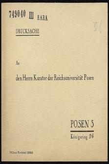 Bestellkarte für die Festschrift zur Gründung der Reichsuniversität Posen : an den Herr Kurator der Reichsuniversität Posen