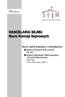 Pełny Zapis Przebiegu Posiedzenia Komisji Samorządu Terytorialnego i Polityki Regionalnej (nr113) z dnia 20 kwietnia 2017 r.