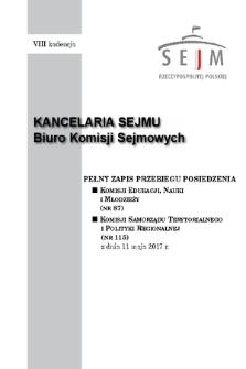 Pełny Zapis Przebiegu Posiedzenia Komisji Samorządu Terytorialnego i Polityki Regionalnej (nr115) z dnia 11 maja 2017 r.
