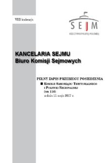 Pełny Zapis Przebiegu Posiedzenia Komisji Samorządu Terytorialnego i Polityki Regionalnej (nr116) z dnia 11 maja 2017 r.