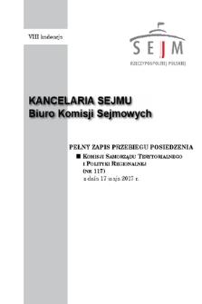 Pełny Zapis Przebiegu Posiedzenia Komisji Samorządu Terytorialnego i Polityki Regionalnej (nr117) z dnia 17 maja 2017 r.
