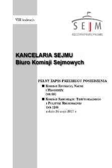 Pełny Zapis Przebiegu Posiedzenia Komisji Samorządu Terytorialnego i Polityki Regionalnej (nr120) z dnia 24 maja 2017 r.