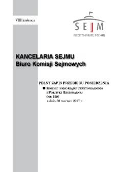 Pełny Zapis Przebiegu Posiedzenia Komisji Samorządu Terytorialnego i Polityki Regionalnej (nr129) z dnia 20 czerwca 2017 r.