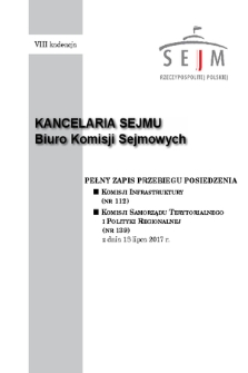 Pełny Zapis Przebiegu Posiedzenia Komisji Samorządu Terytorialnego i Polityki Regionalnej (nr139) z dnia 18 lipca 2017 r.