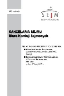 Pełny Zapis Przebiegu Posiedzenia Komisji Samorządu Terytorialnego i Polityki Regionalnej (nr141) z dnia 27 lipca 2017 r.