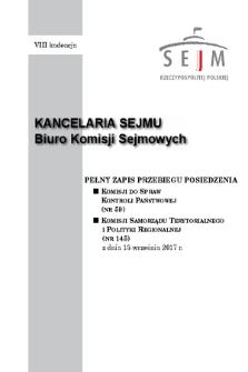 Pełny Zapis Przebiegu Posiedzenia Komisji Samorządu Terytorialnego i Polityki Regionalnej (nr145) z dnia 13 września 2017 r.
