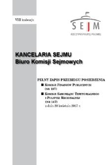 Pełny Zapis Przebiegu Posiedzenia Komisji Samorządu Terytorialnego i Polityki Regionalnej (nr147) z dnia 20 kwietnia 2017 r.