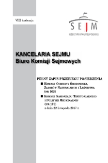 Pełny Zapis Przebiegu Posiedzenia Komisji Samorządu Terytorialnego i Polityki Regionalnej (nr173) z dnia 22 listopada 2017 r.