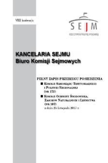 Pełny Zapis Przebiegu Posiedzenia Komisji Samorządu Terytorialnego i Polityki Regionalnej (nr175) z dnia 23 listopada 2017 r.