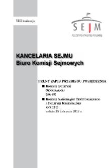 Pełny Zapis Przebiegu Posiedzenia Komisji Samorządu Terytorialnego i Polityki Regionalnej (nr176) z dnia 23 listopada 2017 r.