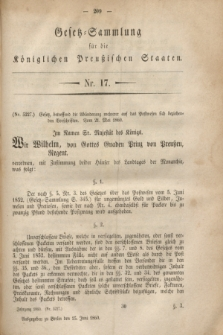 Gesetz-Sammlung für die Königlichen Preußischen Staaten. 1860, Nr. 17 (15 Juni)