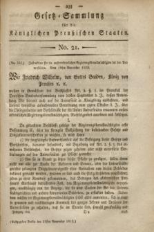 Gesetz-Sammlung für die Königlichen Preußischen Staaten. 1819, No. 21 (25 November)