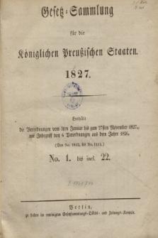 Gesetz-Sammlung für die Königlichen Preußischen Staaten. 1827, Spis treści
