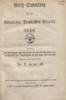 Gesetz-Sammlung für die Königlichen Preußischen Staaten. 1830, Spis treści