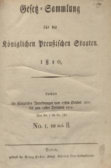 Gesetz-Sammlung für die Königlichen Preußischen Staaten. 1810, Spis treści