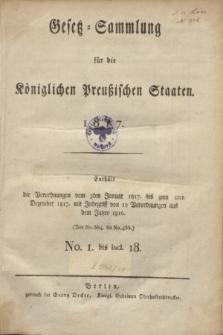 Gesetz-Sammlung für die Königlichen Preußischen Staaten. 1817, Spis treści