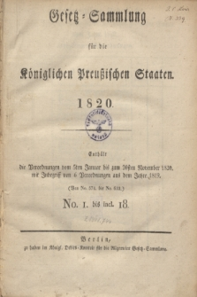 Gesetz-Sammlung für die Königlichen Preußischen Staaten. 1820, Spis treści