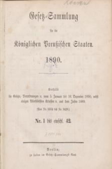 Gesetz-Sammlung für die Königlichen Preußischen Staaten. 1890, Spis treści