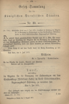 Gesetz-Sammlung für die Königlichen Preußischen Staaten. 1870, Nr. 35 (2 August)