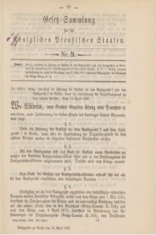 Gesetz-Sammlung für die Königlichen Preußischen Staaten. 1892, Nr. 9 (16 April)