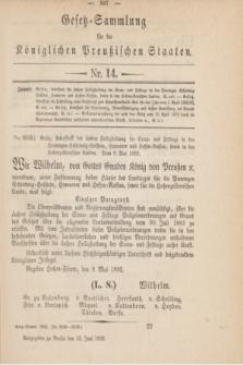 Gesetz-Sammlung für die Königlichen Preußischen Staaten. 1892, Nr. 14 (13 Juni) + dod.