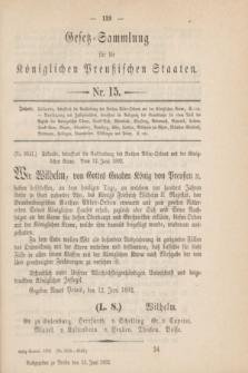 Gesetz-Sammlung für die Königlichen Preußischen Staaten. 1892, Nr. 15 (15 Juni)